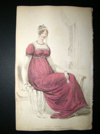 Ackermann 1809 Hand Col Regency Fashion Print. Half Dress